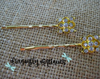 Hair Pins, Rhinestones, Gold Tone, Wedding, Bridesmaids, Gift for Her    {103}