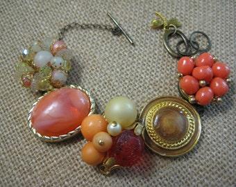 Vintage Earring Bracelet, Repurposed Jewelry, Upcycled Jewelry, Recycled Repurposed, Reclaimed Beads, Corals Rich Peach,eco friendly ooak/30