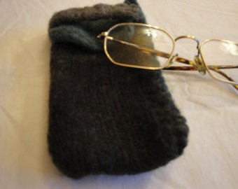 wool felt glasses case, knit spectacle case, mans eyeglass cover, gray/jade specs case, large spectacle cosy, eyeglass case, sunglasses case