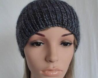 unisex rib beanie, blue grey mix cap, wool silk knit hat, luxury accessory, gift for him or her, handspun yarn hat, denim blue watch cap