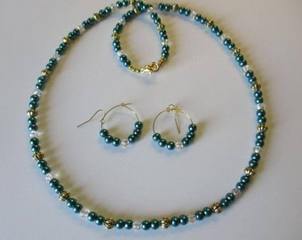 Teal green beaded necklace with matching pierced earrings - # 428