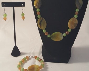 Yellow & Green Jewelry Set - Yellow Necklace - Yellow Bracelet - Yellow Earrings - Green Necklace- Green Bracelet - Green Earrings - Jewelry