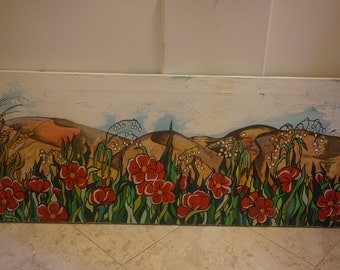 Original Canvas Painting by Giuliana - Red Flower Hills