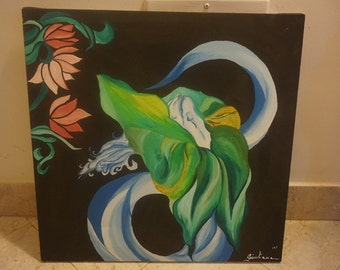 Original Canvas Painting by Giuliana - Night Orchid