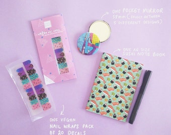GIFT BUNDLE for HER including nail wraps, a pocket mirror and a sushi note book