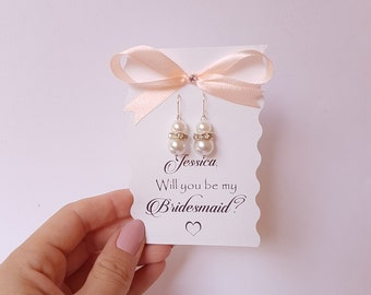 Bridesmaid Gift  Will You Be My Bridesmaid Maid of Honor Gift Bridal Pearl Earrings Wedding Jewelry Bridal Earrings
