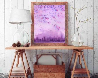 housewarming gift purple wall art, abstract watercolor, purple print, purple home decor, purple art, wall decor aurora print