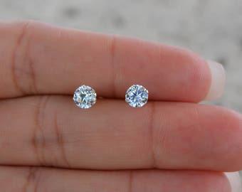 High Quality 4mm Cz Stud Earrings. Sterling Silver Round Stud Earrings. Post Earrings. Small Stud Earrings. Nickel Free Earrings.