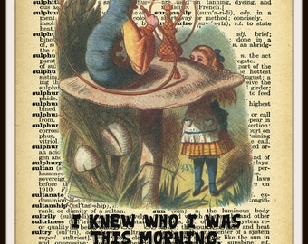 "Printed Vintage  Nursery Art Image Alice in Wonderland Caterpillar, Baby Shower, Wall Decor  Unframed 8 x 10"""