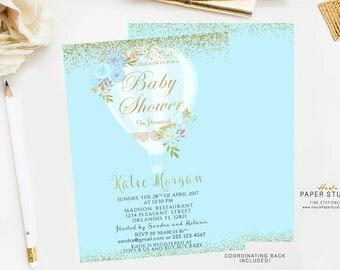 Baby Shower Invitation Boy, Gold Blue Baby Shower Invitation, Custom Baby Invite, Confetti Shower Invitation, Printable Invitation, BA090