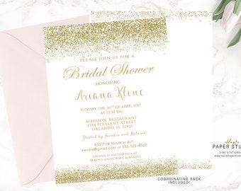 White Gold Bridal Shower Invitation, Custom Bridal Invite, Printable Shower Invitation, Confetti Shower Invitation, Quinceanera Invite BR010