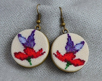 Butterfly flower earrings, Cross stitch jewelry, Embroidered earrings, Red flower, Purple butterfly earrings, Hand embroidered gift