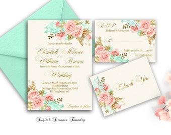 Gold Mint Floral Wedding Invitation Set printable Blush Pink Wedding Invitation Boho Wedding Invitation Spring Wedding Romantic Wedding