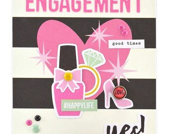 Happy Engagement Card - Homemade Engagement Card - Congratulations On Your Engagement - Hen Party Card - Daughter Engagement Card - OOAK