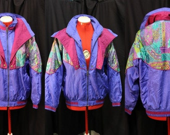 VTG 1990's Levon Bright Purple and Multi-Color Windbreaker Jacket Size petite Large Hipster/College/Spring/Theme Party/Skiing/Costume/Campy
