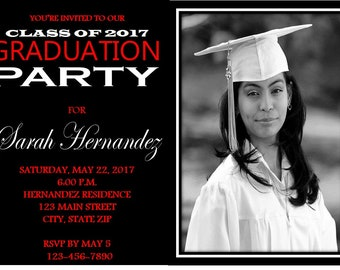 5X7 Red & Black Graduation Party Invitation- School Colors