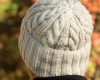 Gray Knit Hat, Wool Beanie, Silver Ribbed Brim Hat, Cabled Slouch Hat for Men, Handmade Winter Hat