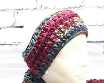 Headband crochet, earmuffs wool woman, earmuffs purple and turquoise, hot strip, earmuffs mode