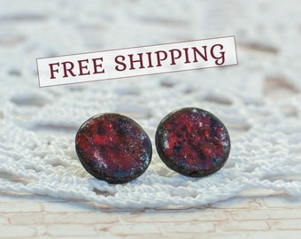 Red stud earrings, Red studs, Little stud earrings, Red earrings studs, Red and black earrings, Cheap red earrings