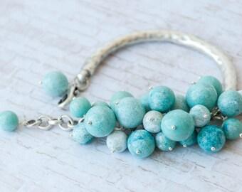 Womens mint bracelet, Mint green bracelet, Mint jewelry, Mint bead bracelet, Mint blue bracelet, Mint bangle bracelet, Heavy bracelet