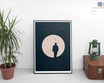 Leonard Cohen poster - Anthem & Hallelujah - Lyrics / Typography / Song
