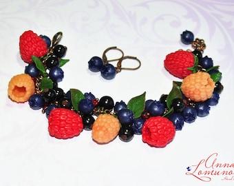 Berry bracelet Summer gift bracelet Berries jewelry set Sister gift bracelet juicy jewelry summer raspberries bracelet Berries summer