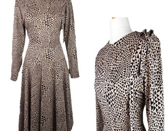 Vintage Ever Young Dress Fit & Flare Beige Brown Patterned UK 12/14 Made in England 1980s