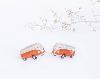 Camper studs , Hippie earrings , Traveller studs , Road trip earrings , Camper earrings , Retro vw camper studs , Vintge trailer studs