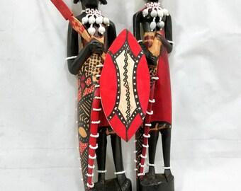 Maasai/Masai Warrior and Wife Hand Carved Wooden Art Sculptures