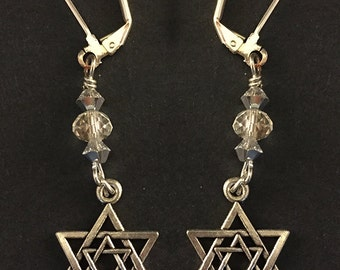 Silver Star of David in Star of David Earrings with Swarovski Crystals - Magen David Earrings - Jewish Star Earrings - Jewish Jewelry