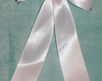 5 large white bows- double sided satin ribbon-wedding/communion/christening decoration