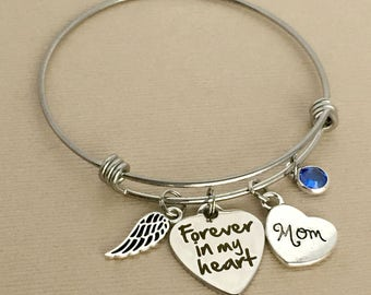 Mom Memorial Bracelet, Forever in my Heart, Loss of Mother, Remembrance Bracelet, Memorial Jewelry, Sympathy Gift, MB012