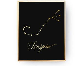Scorpio Print, Zodiac Print, Scorpio Constellation, Real Gold Foil Print, Zodiac Sign, Scorpio Zodiac Poster, Zodiac Constellation,Astrology