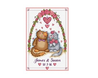 Cats in Love Sampler - Durene J Cross Stitch Pattern