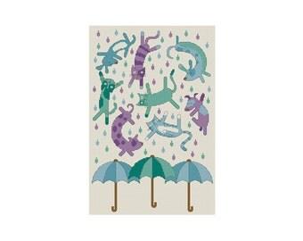 Raining Cats and Dogs - Durene J Cross Stitch Pattern
