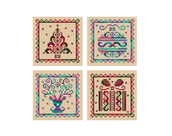 Christmas Cards - Set of 4 - Durene J Cross Stitch Patterns