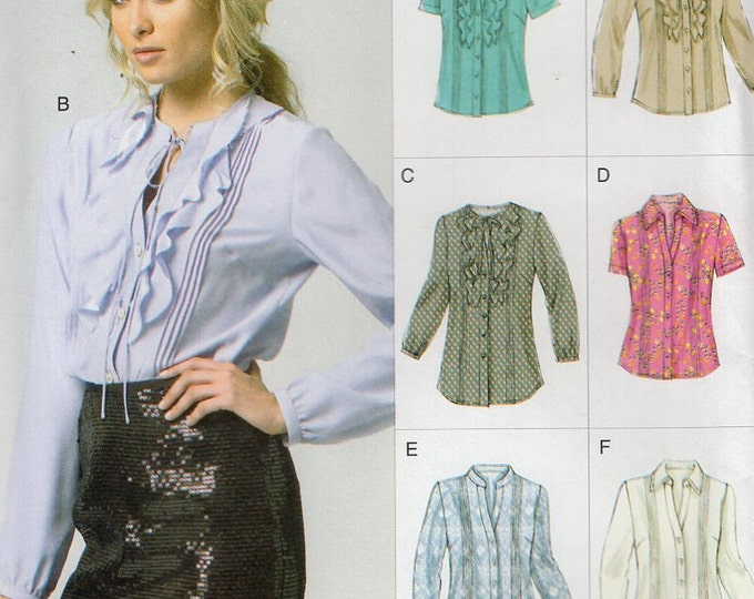 Vogue 8857 Free Us Ship Sewing Pattern Ruffle Tuxedo Pleat Blouse Size16/24 Bust 38 40 42 44 46 (Last size left) Uncut Out of Print 2013