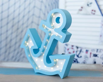 Anchor nightlight, desk lamp, made from Baltic birch plywood, battery operated (9/1/B)