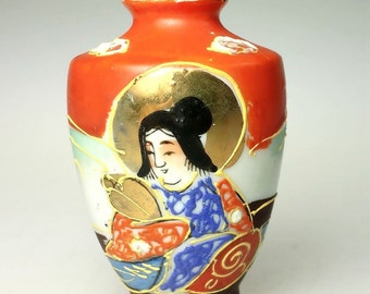 Miniature Moriage Moriagi Porcelain Geisha Vase Vintage Orange Blue Gold Trim