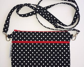 Crossbody Purse; Black & White Polka Dot Cross Body Bag; iPhone 7 Plus, Samsung Galaxy Cross Body Purse; Cell Phone Purse; Sling Bag