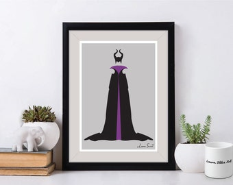 Disney Villain Maleficent Poster/Print - minimalist sleeping beauty villan poster art decor