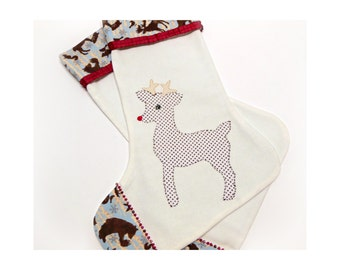 Rudolph Christmas Stocking, Beaded Reindeer Holiday Decoration, Handmade  Childrens Stocking, Baby's First Christmas Stocking