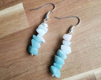 Amazonite Earrings // Crystal Earrings // Blue Earrings // Dangle Earrings // Blue Ombre // Ombre Jewelry // Drop Earrings // Natural Stone