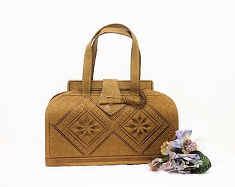 Vintage Egyptian Handbag/Leather Handbag/Tan Decorative Handbag/SALE (1953E)