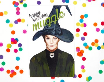 Harry Potter Birthday Card (Minerva Mcgonagall, Albus Dumbledore, Ron Weasley, Draco Malfoy, Hogwarts, Slytherin) (100% Recycled Paper)