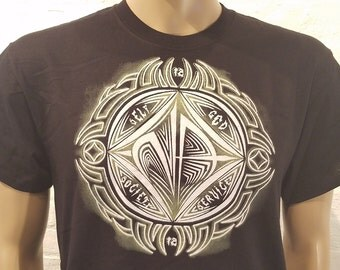 NA - TRIBAL SYMBOL 2 -white or black T-shirt - S-3X  - 100% cotton.  aa