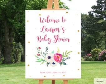 PRINTABLE, Baby Shower Banner Girl, Baby Shower Decorations Girl, Floral Baby Shower Decorations, Girl Baby Shower Decor, Floral, Custom