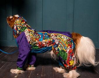 Dog Raincoat Marvel Comics - Full Body Suit - Dog Coat - Dog Clothing - Pet Clothes - Available to Any Breed