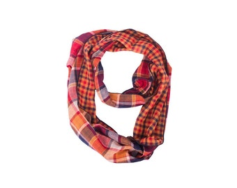 Plaid Scarf, Fashion Boho Scarf, Scarf, Scarves, Eternity Scarf, Circle Scarves, Boho Scarf, Circle Scarf, Loop Scarf, Womens Scarves