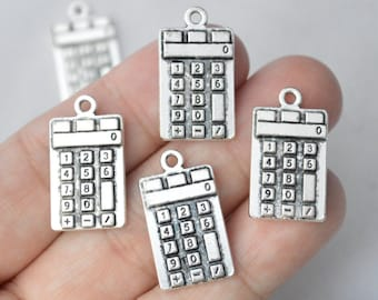 5 Pcs Calculator Charms Antique Silver Tone 13x23mm - YD1427